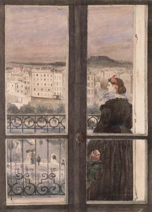 Zacharie Astruc, 1867ca, Woman on her balcony, wc, 30x22, Kh Bremen (iR10;iR13;M58). Compare: 1IE-1874-3-1, Dames flamandes à leur fenêtre.