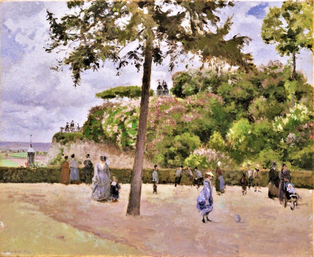 Camille Pissarro, 1IE-1874-139, Jardin de la ville de Pontoise. Maybe: 1874, CCP347, The Municipal Garden at Pontoise, 60x73, Metropolitan (iR2,R116,no347;R126,no257;R87,p250;R90II,p27;R2,p122;M23,no64.156)