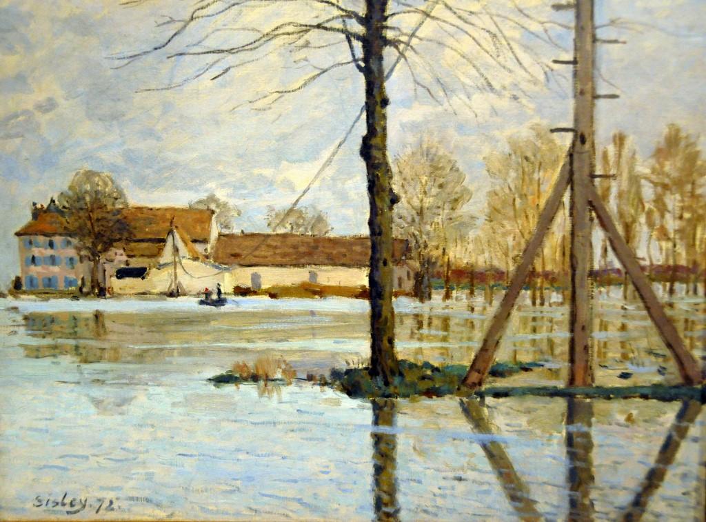 Alfred Sisley, 1IE-1874-162, Île de la Loge. Now: 1872, CR21, Ferry to the Île-de-la-Loge, Flood, 46x61, NCG Copenhagen (iR10;iR6;iR2;iR59;R166,p114;R87,p254;R90II,p29;R2,p123;R129,CR21;M90,no1752)