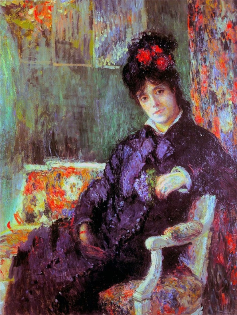 Claude Monet, 3IE-1877-114, Portrait. Probably: 1877, CR436, Camille holding a Posy of Violets, 116x88, private (iR10;iR94;R22+R127,CR435;R2,p205;R90II,p96)