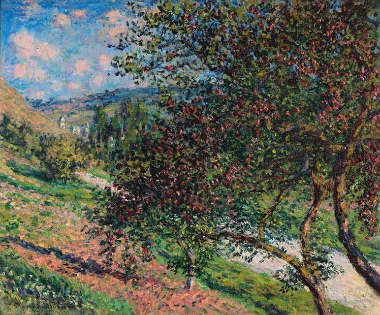 Claude Monet, 4IE-1879-143, Pommiers =CR490, 1878, Apple trees, Vétheuil, 55x60, private (iR10;R90II,p133;R2,p269;R22+R127,CR490)