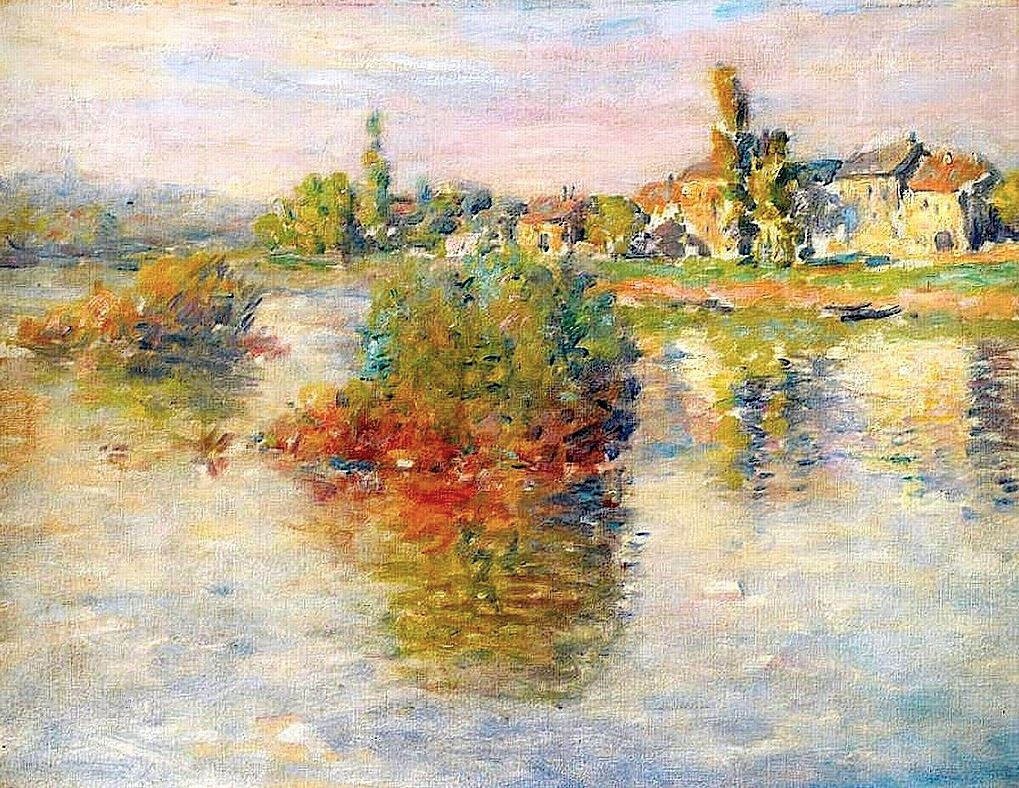 Claude Monet, 4IE-1879-150, La Seine à Lavacourt, (soleil couchant). Second option: CR538a, 1879, The Seine at Lavacourt (study), 44x59, A1994/03/25 (iR10;iR64;iR85;iR13;R22,CR538a;R2,p269)
