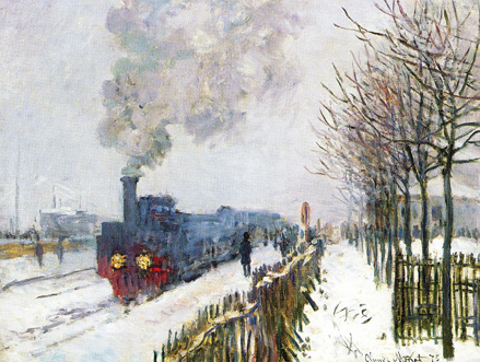 Claude Monet, 4IE-1879-165, Paysage d'hiver. Probably: 1875, CR356, the train engine in the snow, 59x78, Marmottan (iR59;iR51;R90II,p136;R2,p269;R22+R127,CR356;M2,no4017)