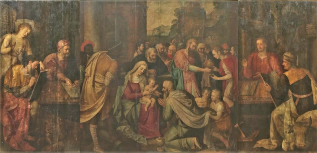 Frans Floris, 1571, L'adoration des rois (triptyque), 230x455, MRBA Brussels (M80;iR10) =HD1878/04/11-27 sale Astruc collection.