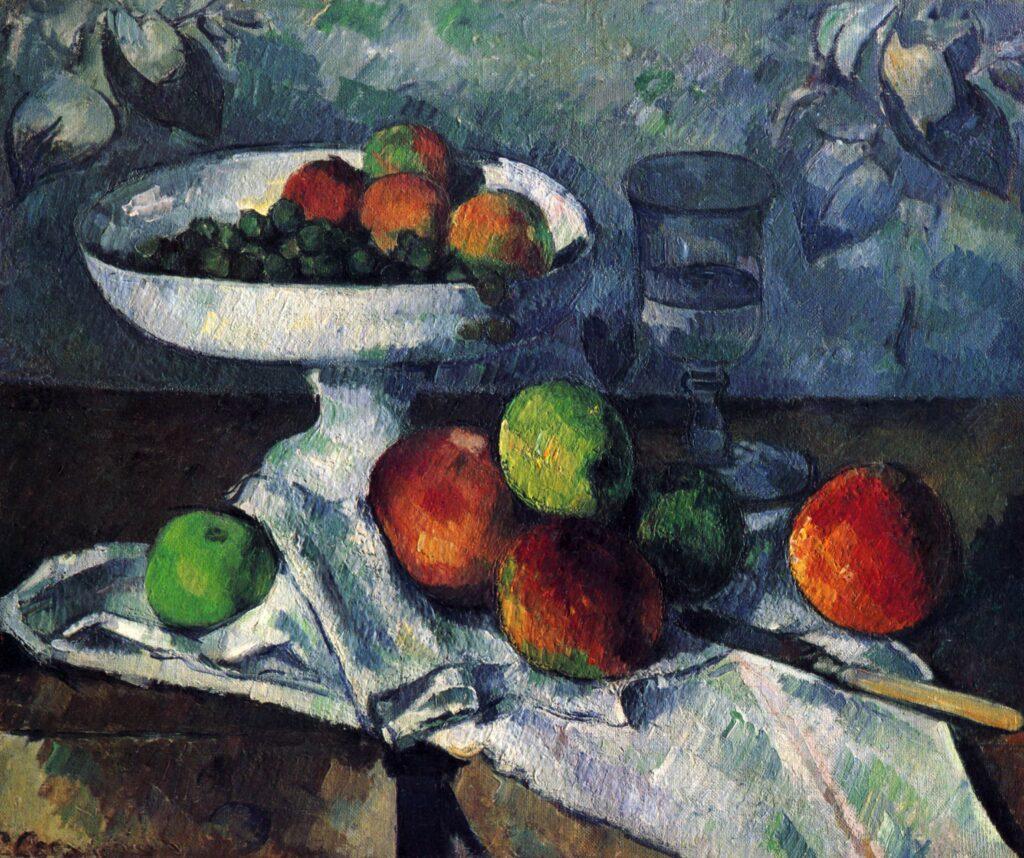 Paul Cézanne, 1879-82, V341, Fruit Bowl, Glass and Apples (Compotier, verre et pommes), 46x55, MoMa New York (iR10;iR6;R48,no452;R189,no341;M41)