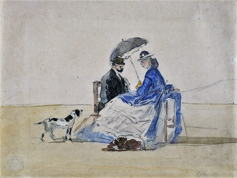 Eugène Boudin, 1IE-1874-22-2, Plage de Trouville (Aquarelles). Maybe?: 1865ca, A Couple Seated on the Beach with Two Dogs, watercolour, 17x21, NGA Washington (iR2;R2,p119;R87,p230;M21)