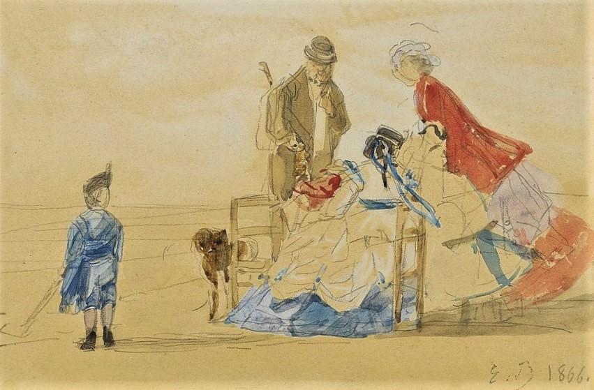 Eugène Boudin, 1IE-1874-22-4, Plage de Trouville (Aquarelles). Maybe?: 1866, Beach of Trouville, wc, 35x42, A2018/12/04 (iR11;R2,p119;R87,p230)