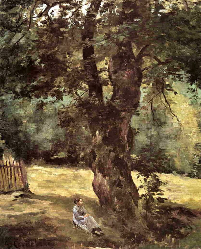 Gustave Caillebotte, 2IE-1876-24, Après déjeûner. Compare: 1872-73ca, CR4+17, Woman Seated under a Tree, 46x38, private (iR2;R102,no4;R101,no17)