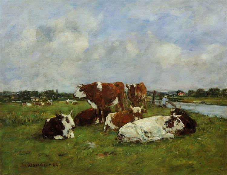 Eugène Boudin,1884, Grazing on the banks of the Touques river, 36x46, private (iR10;iR7;R161,p77)