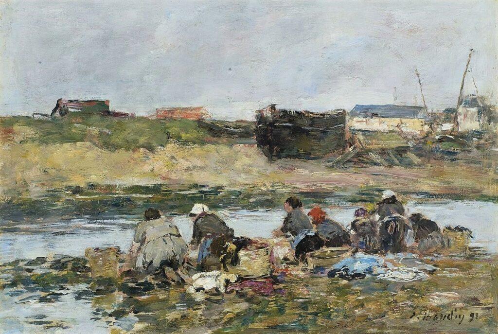 Eugène Boudin,1891, CR2855, Laveuses sur la Touques près de Trouville, on panel, 24x35, A2008/12/02 (iR6;iR15;R122,no2855)