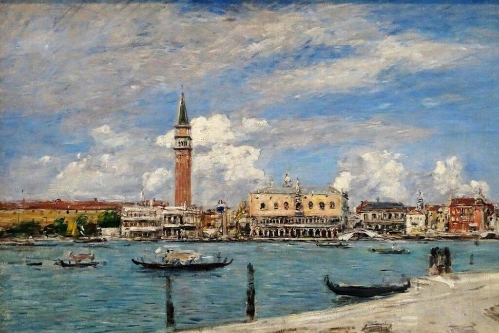 Eugène Boudin, 1895, CR3402, Venise, La Place Saint-Marc, vue du Grand Canal, 50x74, MuMa Le Havre (HW18;iR23;R51,p209;M15,B219)