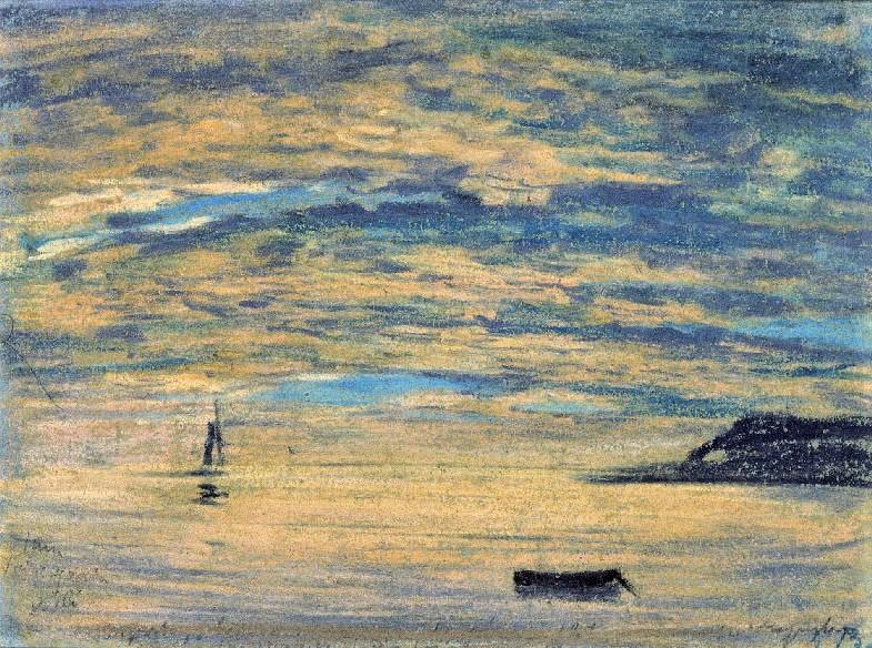 Eugène Boudin, 1IE-1874-20-4, études de ciel (pastels). Maybe?: 1854-59ca, Sunset and cliff (Étretat), pastel, 15x21, MEB Honfleur (iR23;R51,p197;R2,p119;R87,p230;M19) =EdBA-1899