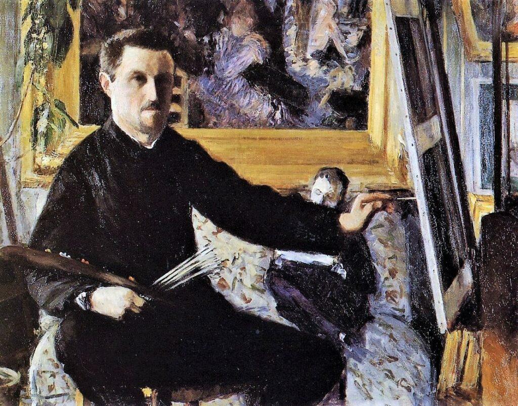 Gustave Caillebotte, 4IE-1879-31+hc2, Autoportrait au chevalet =1879ca, CR118+132, Self Portrait with Easel, 90x115, private (iR2;R41,p32;R101,no118;R102,no132;R90II,p107+126;R90I,p252)