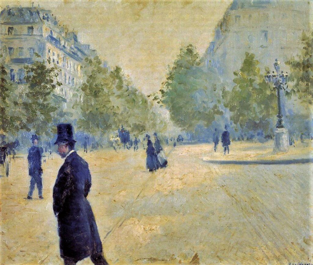 Gustave Caillebotte, 4IE-1879-31+hc4, Place Saint-Augustin. Now: 1878, CR112+103, Place Saint-Augustin, Misty Weather, 54x65, A2012/11/07 (iR2; iR11;R102,no103+p283;R101,no112)