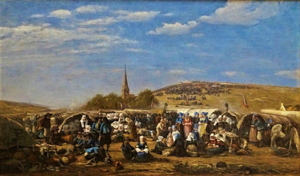 Eugène Boudin, S1859-330, Le Pardon de Sainte-Anne-la-Palud au fond de la baie de Douarnenez (Finistère) = 1858, CR185, The Pilgrimage at Sainte-Anne-la-Palud, 87x147, MuMa Le Havre (HW18;R161,p23;R51,p217;R122,no185;M15,B1)