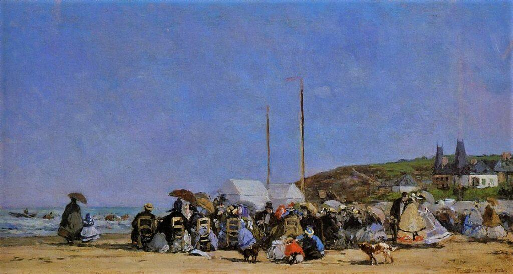 Eugène Boudin, S1864-214, Plage aux environs de Trouville =1864, CR258, Trouville, beach scene, on wood, 26x48, Orsay (iRx;iR2;iR1;R161,p31;R122,no258;M1)