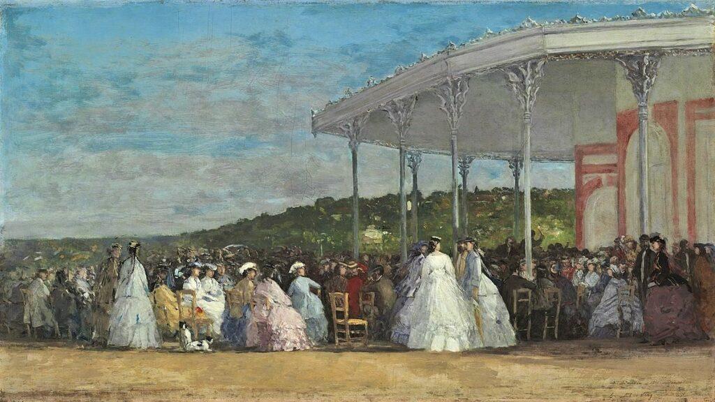 Eugène Boudin, S1865-252, Un concert au casino de Deauville =1865, Concert at the Casino of Deauville, 42x74, NGA Washington (iR6;iR1;R161,p42;M21,no1985.64.3)