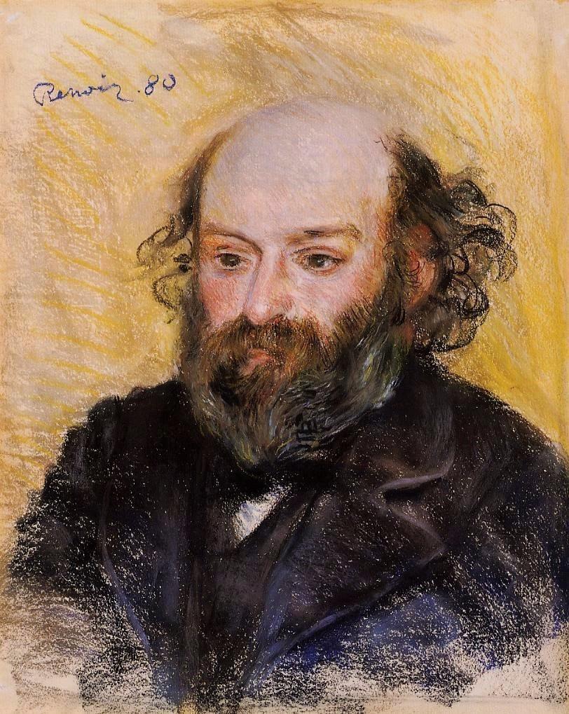 August Renoir, 2IE-1876-226, portrait de M. H... (pastel). Compare: 1880, Paul Cézanne, pastel, 54x45, A2012/05/02 (iRx;iR11;R3,p346;R1,p475;R3,p346;R2,p164) Chocquet coll.