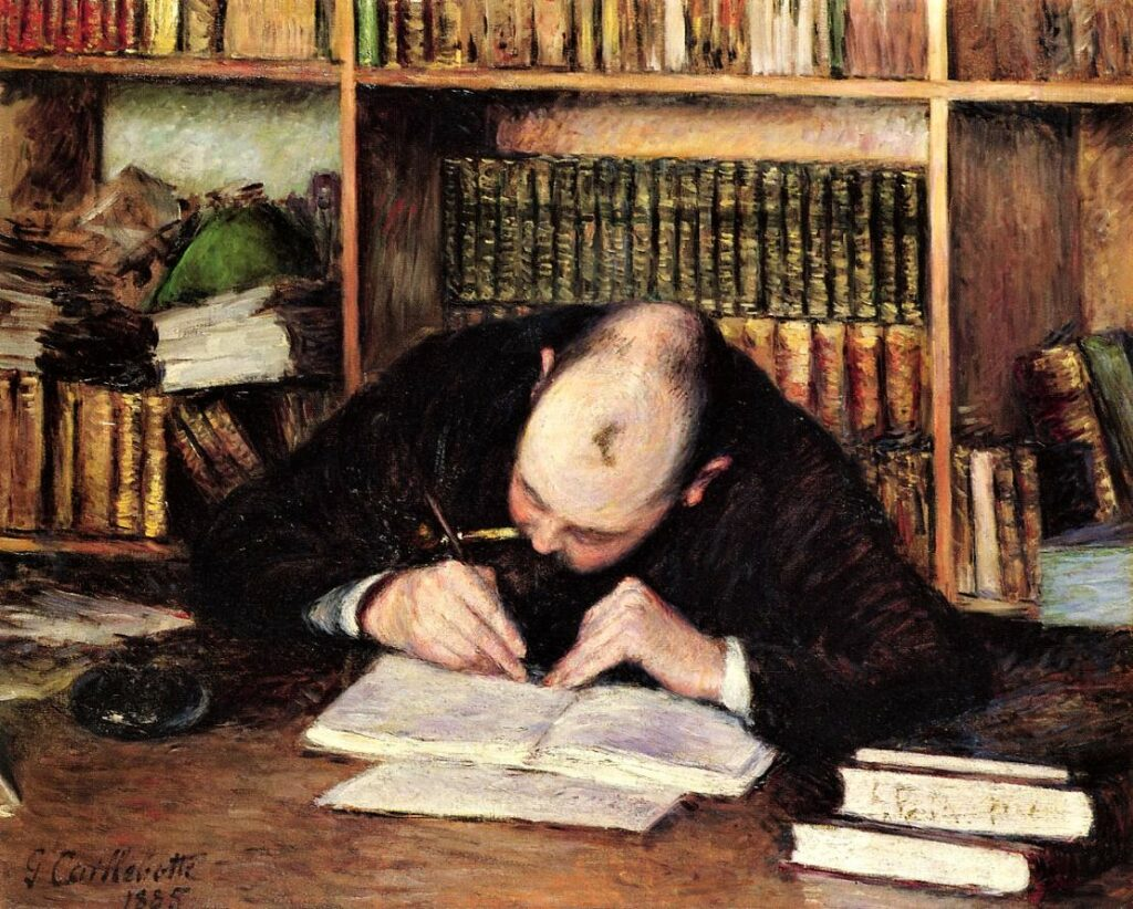 Gustave Caillebotte, 1885, CR291+319, Portrait of Émile-Jean Fontaine Writing in His Study, 66x82, Josefowitz coll. Lausanne (iR2;R41,p23;R101,no291;R102,no319). =XX1888-4; =DR1894-44; =SdA1921-2736