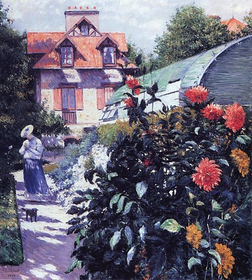 Gustave Caillebotte, 1893, CR443/462, Dahlias, The Garden (and house of Caillebotte with Charlotte Berthier) at Petit Gennevilliers, 157x114, private (iR2;R102,no462;R101,no443) DR1894-105