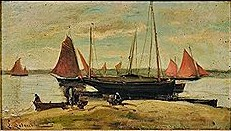 Louis Latouche, 18xx, fishing vessels and figures on the shore, 24x43, A2016/04/08 (iR41;iR17;iR10)