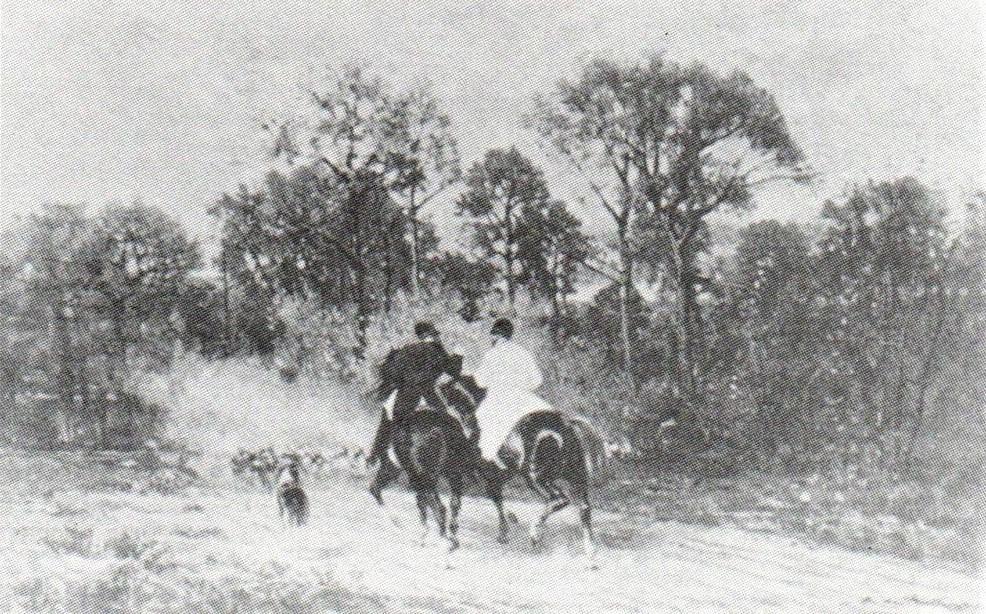 Auguste de Molins, 18xx, Départ pour la chasse, 36x55, private (R90II,p23+8). Probably: HD1876/05/06-14; Maybe: 1IE-1874-93, Rendez-vous de chasse + 1IE-1874-94bis + SdR1873-343; Compare: HD1876/05/06-22.