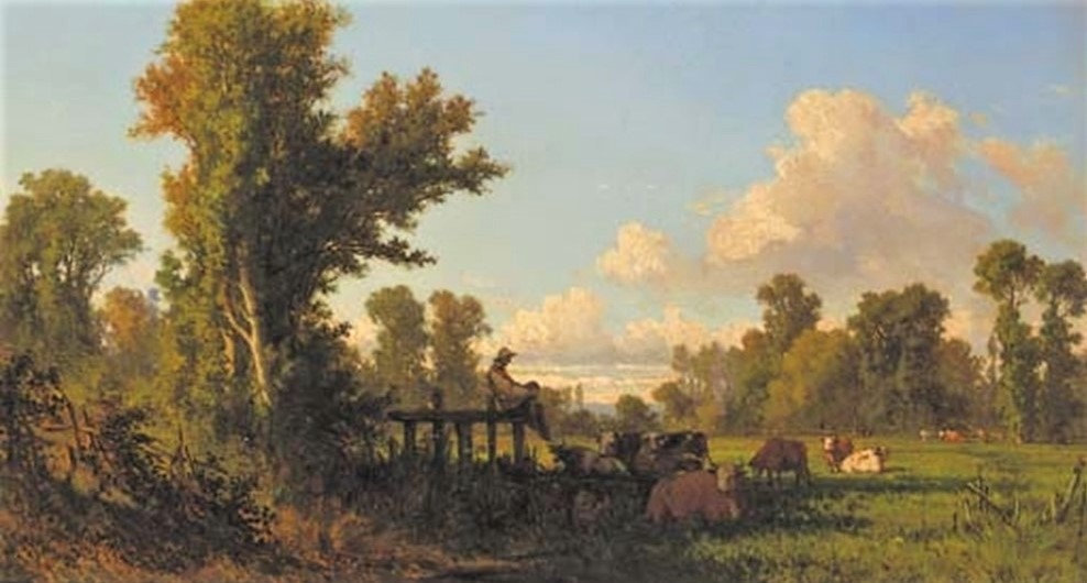 Jean-Baptiste Millet, 2IE-1876-138, Femme gardant les vaches (aquarelle). Compare:18xx, A cowherd watching over his flock in the shade, 30x54, A2001/10/23 (iR11;R2,p163)