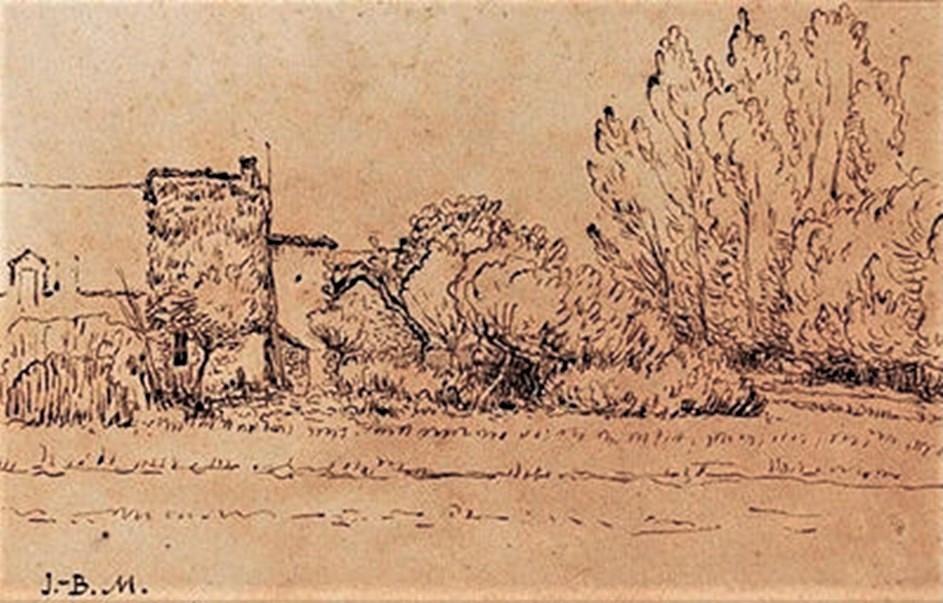 Jean-Baptiste Millet, 2IE-1876-140, La Chaumière (aquarelle). Compare: 18xx, la vielle chaumière, dr~ sepia~, xx, xx (iR41;R2,p163)