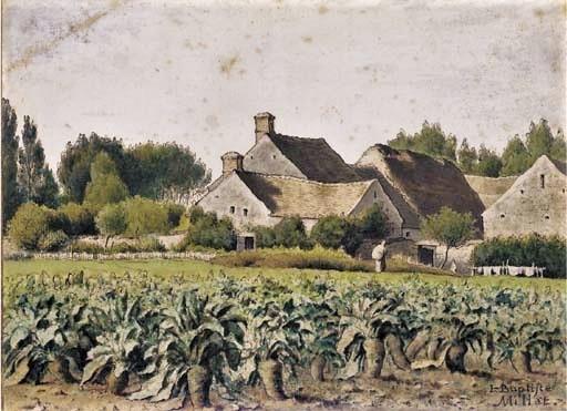 Jean-Baptiste Millet, 2IE-1876-143, Ferme du Fays. Compare: 18xx, a landscape with a field of mangold wurzels, dr wc, 18x25, A2003/07/08 (iR11;R2,p163)