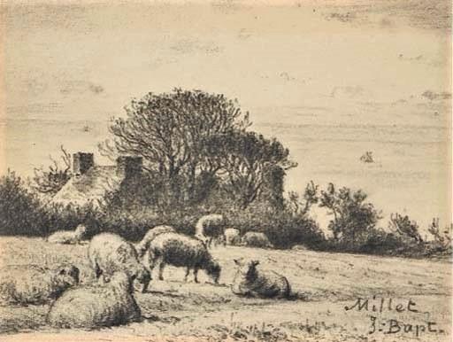 Jean-Baptiste Millet, 2IE-1876-144, Le pré. Compare: 18xx, Des moutons dans un pré, dr, 12x16, A2004/12/15 (iR11;R2,p163)