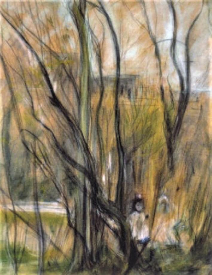 Berthe Morisot, 2IE-1876-182, Trois dessins au pastel. Maybe(??): 1874, CR428, In the woods of Maurecourt, pastel, 55x44, A2003/03/26 (iR13;iR6;R100,p51;R2,p163)