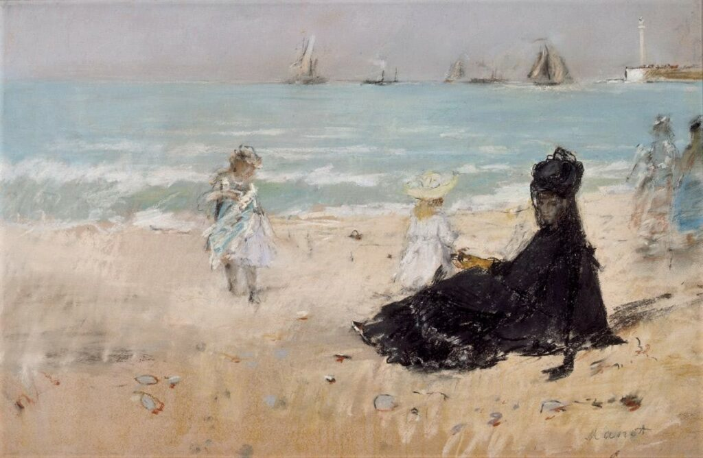 Berthe Morisot, 2IE-1876-182, Trois dessins au pastel. Maybe(??): 1874, CR429, On the Beach at Fécamp, pastel, 40x60, private (iR6;R100,p52;R2,p163) Probably auctioned: HD1875/03/24-28.