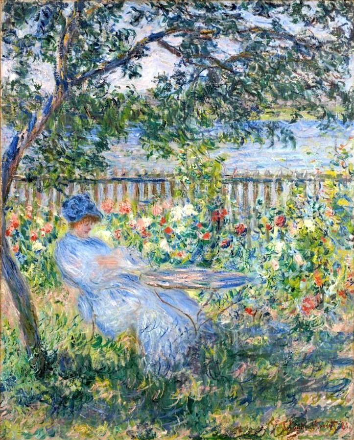Claude Monet, 7IE-1882-63, Femme lisant dans un jardin =CR681, 1881, The terrace at Vétheuil, 81x65, private (iR10;iR64;iR59;R22,no681;R90II,p204+219;R2,p395)