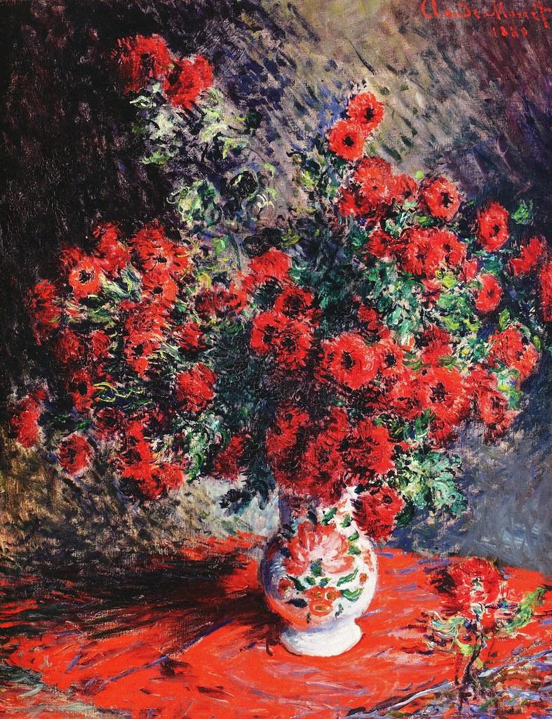 Claude Monet, 7IE-1882-69, Chrysanthèmes =1880, CR635, Red Chrysanthemums, 82x65, private (iR10;iR94;R22,no635;R90II,p205+220;R2,p395)