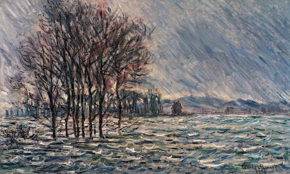 Claude Monet, 7IE-1882-71, Inondation =1881, CR642, The flood, 60x100, Rau Zurich (iR10;iR64;R22,no642;R90II,p205+221;R2,p395)