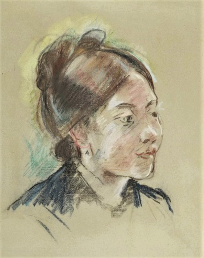 Berthe Morisot, 8IE-1886-90, Portrait de Mlle L. Maybe(?): 1885, CR483, Portrait de Mlle Labillois, pastel, 49x42, A2019/11/12 (iR13;iR6;R100,p54)