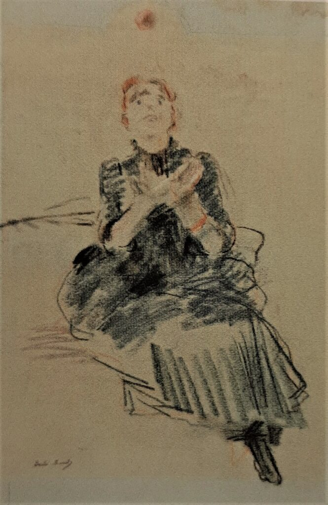 Berthe Morisot, 8IE-1886-91, Portrait de Mlle P.G. Maybe?: 1886, CR501, Girl playing with a ball, pastel, 58x41, Marmottan (R169,p243)