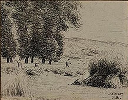 Jean-Baptiste Millet, S1875-2572, La moisson; aquarelle. Compare: 18xx, les moissons, xx, xx (iR41;iR1)
