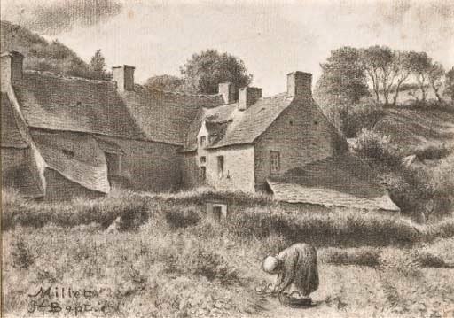 Jean-Baptiste Millet, S1877-3165, Une récolte de noix; aquarelle. Compare: 18xx, Une paysanne ramassant des herbes, dr, 24x18, A2005/12/16 (iR11;iR1)