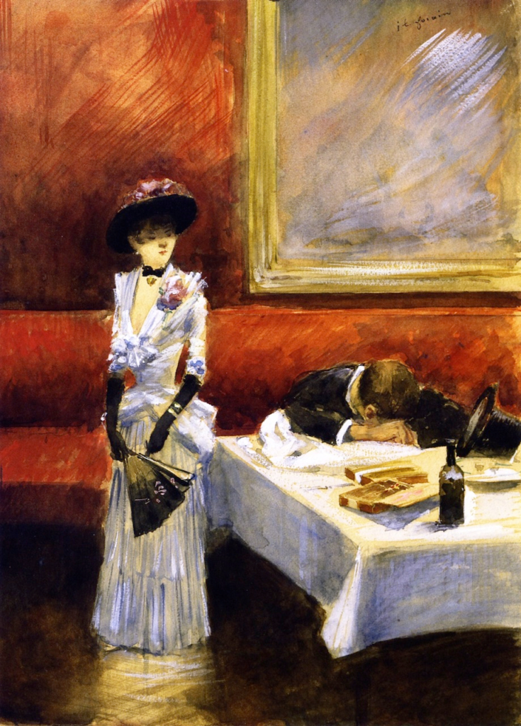 Jean-Louis Forain, 1885ca, At a Restaurant, gouache, 33x24, A2007/06/20 (iR2;iR11;iR13)