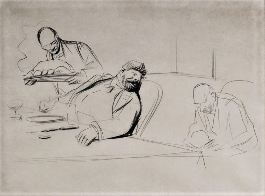 Jean-Louis Forain, 18xx, Le Gourmand (the greedy one), pencil, 31x42, A2014/12/03 (iR11;iR10)