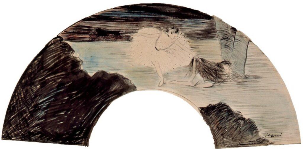 Jean-Louis Forain, 4IE-1879-101-104, éventail. Compare: 1889ca, the dancer, fan wc, 30x62, DGG Memphis (iR8;R2,p268;M160)