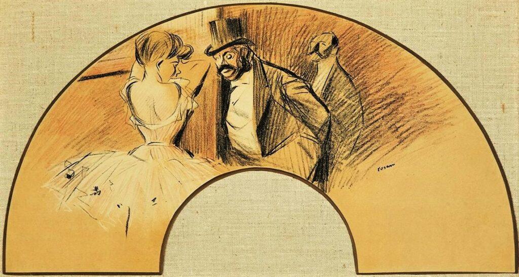 Jean-Louis Forain, 4IE-1879-101-104, éventail. Compare: 1903, Eventail pour la bal Gavarni, 26(or15)x49, A2015/03/10 (iR11;R43,p54;R2,p268)