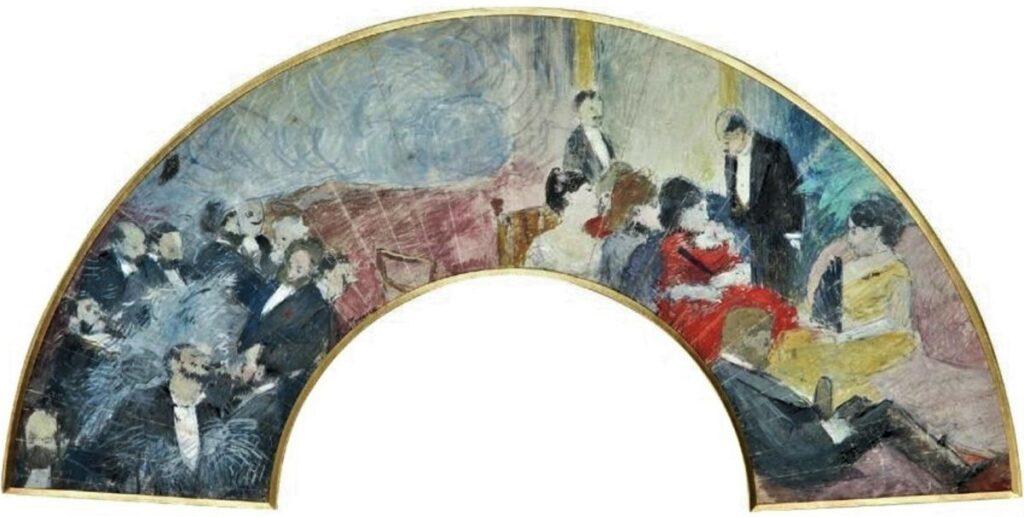 Jean-Louis Forain, 4IE-1879-102, éventail. Maybe?: 18xx, Fête Galant, fan gouache, 15x56, A2011/05/11 (iR13;R2,p268)