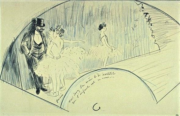 Jean-Louis Forain, 4IE-1879-103, éventail. Maybe?: 18xx, danseuses et un monsieur, dr fan, 25x38, DAG Louvre (iR23;R2,p268;M5a)