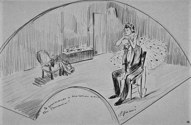 Jean-Louis Forain, 4IE-1879-104, éventail. Maybe?: 18xx, scène dans une loge d'actrice, dr fan, 26x39, DAG Louvre (iR23;R2,p268;M5a)