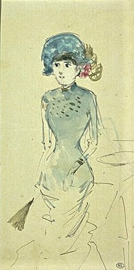 Jean-Louis Forain, 4IE-1879-107, dessin. Maybe??: 18xx, Young woman standing in a bleu dress, ink+wc, 20x10, DAG Louvre (iR23;M5a,RF10808,R;R2,p268)
