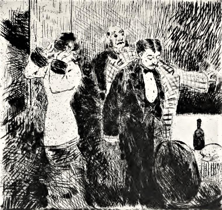 Jean-Louis Forain, 4IE-1879-87, Fin d'un souper (aquarelle). Compare: 18xx, CR10, Le Quart d'heure de Rabelais, etch ps, 19x20, SKs Dresden (aR9,no10;R90II,p131+112;R43;R90I,p227+289)
