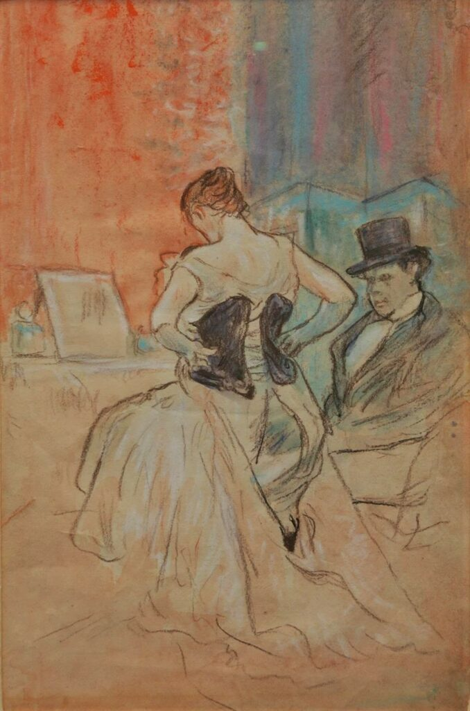 Jean-Louis Forain, 4IE-1879-88, Loge d'actrice (aquarelle). Compare: 1xxx, Woman dressing near a seated man (woman in corset), pastel, 35x23, A2014/05/15 (iR11;iR10;iR43;R2,p268;R90I,p213+250)