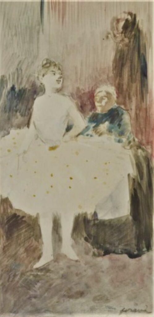 Jean-Louis Forain, 4IE-1879-91, Pourtour des Folies-Bergère (aquarelle). Maybe?: 1xxx, Ballet student and her dresser, wc, 29x14, A2013/03/27 (iR13;iR11;R2,p268)